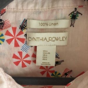 Cynthia Rowley 100% linen button up cropped blouse